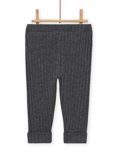 Leggings lisos de color gris antracita de canalé para bebé niña MYIJOLEGCO3 / 21WI0914CAL944