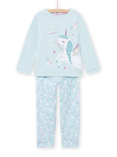Pijama azul forrado con estampado de unicornio para niña MEFAPYJFUR / 21WH1193PYJ201