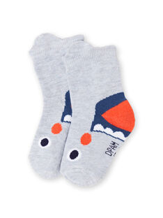 Calcetines grises con estampado de tiburones para bebé niño LYUVICHO1 / 21SI10U1SOQJ920