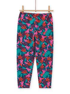 Pijama de camiseta y pantalón de terciopelo con estampado tropical para niña MEFAPYJMON / 21WH1183PYJD312