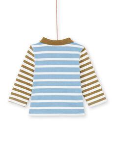 Polo de color celeste y caqui de rayas para bebé niño MUKAPOL / 21WG10I1POL020
