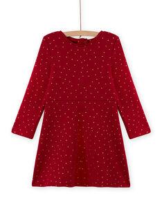 Vestido evasé de color rojo de lunares de muletón para niña MAJOLROB2 / 21W901N1ROBF504