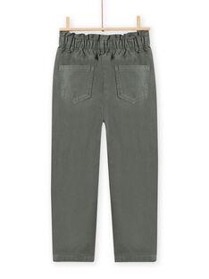 Pantalón paperbag de color caqui de twill para niña MAKAPANT / 21W901I1PAN626