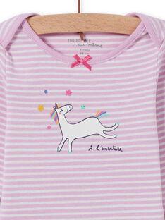 Body lavanda de rayas con estampado de unicornio para bebé niña MEFIBODLI / 21WH13C3BDL326