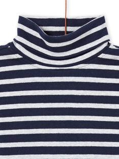 Jersey fino de manga larga de color azul noche y blanco de rayas para niño MOJOSOUP4 / 21W902N4SPL705