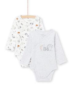 2 bodis de color blanco y gris para recién nacido unisex MOU1BOD3 / 21WF0541BODJ920