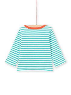 Camiseta de manga larga de rayas de color turquesa y blanco con estampado de mapache para bebé niño MUJOTEE2 / 21WG1023TMLC217
