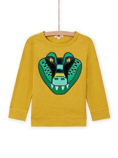 Camiseta de color amarillo con estampado de lentejuelas para niño MOKATEE2 / 21W902I3TML106