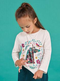 Camiseta de manga larga con estampado de unicornio con lentejuelas reversibles para niña MATUTEE2 / 21W901K4TML001