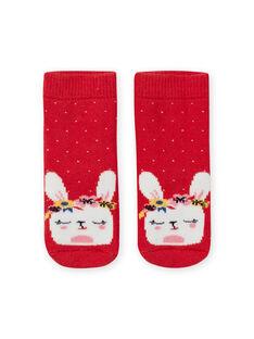 Calcetines rojos de lunares con estampado de conejo para bebé niña LYIHACHOB / 21SI09X1SOQ505