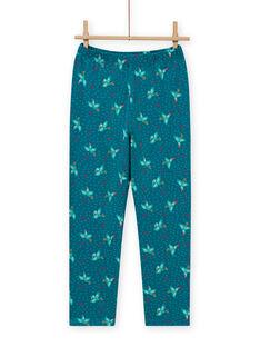 Pijama fosforescente de color turquesa con estampado de pájaro para niña MEFAPYJTOU / 21WH1172PYGC217
