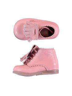 Botines de piel de color rosa con flecos extraíbles para bebé niña GBFBOTIPATP / 19WK37I1D0F030