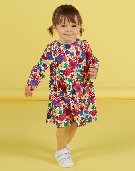 Vestido de manga larga con estampado floral colorido para bebé niña MIMIXROB3 / 21WG09J2ROB001