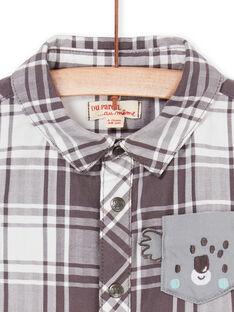 Camisa de color topo y blanco de cuadros, para bebé niño LUPOECHEM / 21SG10Y1CHM001