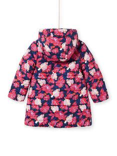 Parka de color rosa y azul marino con capucha reversible para niña MAPAPARKA / 21W90151PAR070