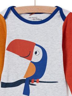 Body de manga larga multicolor con estampado de tucán para bebé niño MEGABODTOU / 21WH14C3BDLJ920