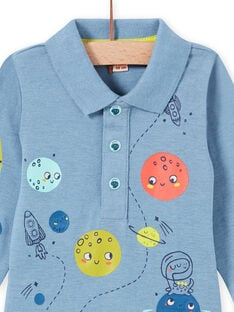 Body de color azul jaspeado con cuello con estampado de espacio para bebé niño MUPLABOD / 21WG10O1BODC224