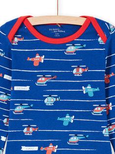 Conjunto de pijama de camiseta y pantalón azul y rojo con estampado de rayas y helicópteros para niño MEGOPYJAVIO / 21WH1285PYJC214