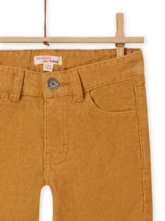 Pantalón de pana liso amarillo para niño MOJOPAVEL5 / 21W902N2PANB101