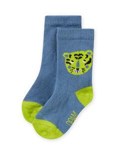 Calcetines de color celeste y verde con estampado de tigre para bebé niño MYUJOCHOU2 / 21WI101BSOQ020
