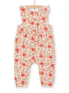 Mono de color crudo y rosa con estampado floral para bebé niña LINAUCOMB / 21SG09L1CBL001