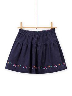Falda reversible de color azul noche con estampado floral para niña MAPLAJUP1 / 21W901O1JUPC202