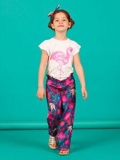 Pantalón fluido de color azul marino y rosa con estampado floral LABONPANT / 21S901W1PAN716