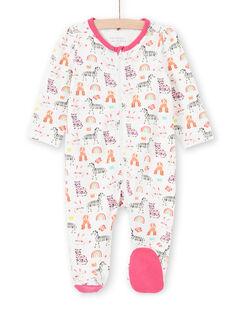 Pelele de color crudo con estampado de animales, arco iris y coronas de colores para bebé niña MEFIGREANI / 21WH1333GRE001