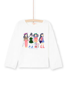 Camiseta de manga abombada de color crudo con estampado de lentejuelas reversibles para niña MAMIXTEE4 / 21W901J5TML001