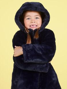 Parka reversible azul marino de pelo artificial para niña MANUIPARKA / 21W90154PAR070