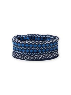 Cuello de color azul con estampado de punto jacquard para niña MYOGROSNO5 / 21WI0267SNO221