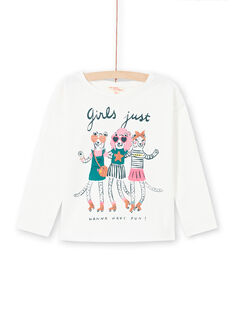 Camiseta de manga larga de color crudo con estampado de animales de fantasía para niña MAKATEE4 / 21W901I3TML001