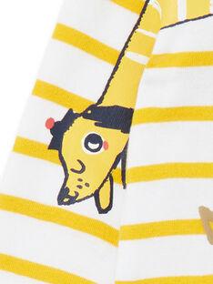Body de rayas de algodón, de color blanco y amarillo, para bebé niño LUNOBOD / 21SG10L1BOD000
