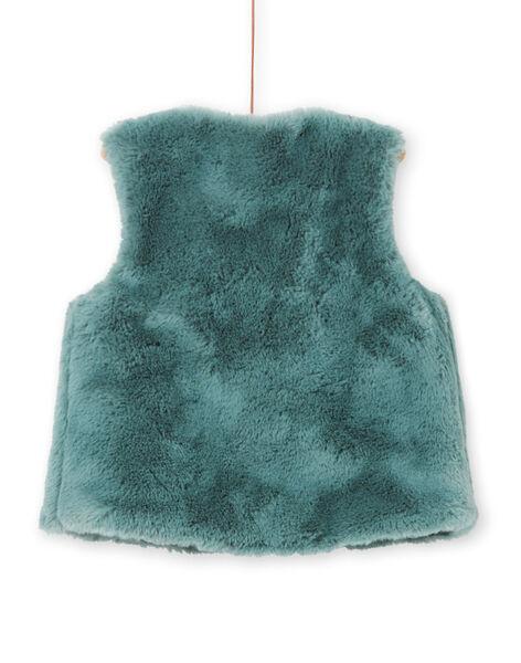 Cárdigan de pelo artificial reversible de color caqui para niña MAKACAR2 / 21W901I2CAR612