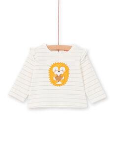 Camiseta de rayas de color crudo y amarillo, para bebé niña LIPOETEE2 / 21SG09Y1TML001