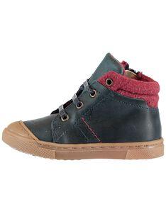 Zapatillas de cordones de piel de color azul marino para bebé niño GBGBASBOU / 19WK38X1D3F070
