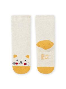 Calcetines de color beige jaspeado con estampado de gato para bebé niño MYIJOSOQB2 / 21WI0916SOQA011