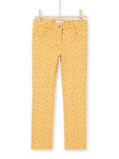 Pantalón de sarga de color mostaza con estampado de estrellas para niña MAJOPANT1 / 21W90123PANB106