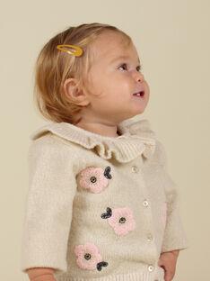 Cárdigan de punto de color crudo con volantes y flores para bebé niña MIHICAR1 / 21WG09U1CAR003
