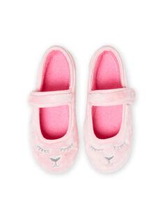 Bailarinas de color rosa claro de pelo artificial con estampado de gato para niña MAPANTCATFUR / 21XK3522D07321