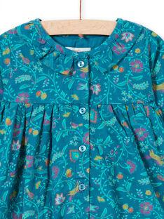 Vestido de manga larga de color azul pato con estampado floral para niña MITUROB1 / 21WG09K3ROB714