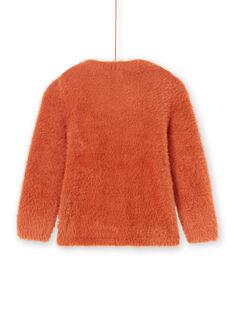 Jersey de manga larga de color caramelo con estampado de jirafa para niña MACOMPULL / 21W901L1PUL420