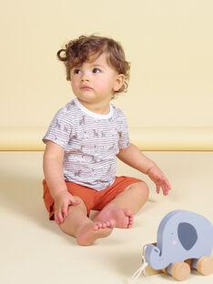 Camiseta de rayas de color crudo y marrón para bebé niño LUTERTI3 / 21SG10V3TMC001