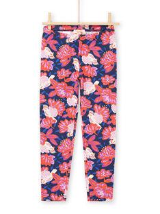 Leggings de color azul marino con estampado de pájaros y floral colorido para niña MYAPALEG / 21WI01H1CALC205