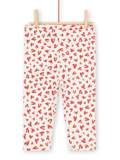Leggings de color crudo y rojo para bebé niña LYITERLEG / 21SI09V1CAL001