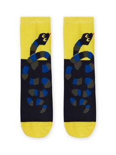 Calcetines de color amarillo y negro con estampado de serpiente para niño MYOKACHO / 21WI02I2SOQ106