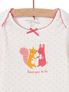 Body blanco de lunares con estampado animal para bebé niña MEFIBODAMI / 21WH13C5BDL001