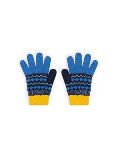 Guantes azules con estampado de punto jacquard para niña MYOGROGAN3 / 21WI0266GAN221