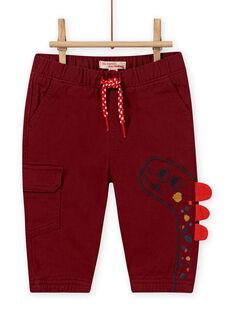 Pantalón de color borgoña con estampado de dinosaurio para bebé niño MUPAPAN2 / 21WG10H1PAN719