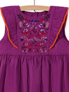 Vestido evasé bordado de color violín para niña MAPAROB2 / 21W901H2ROB712